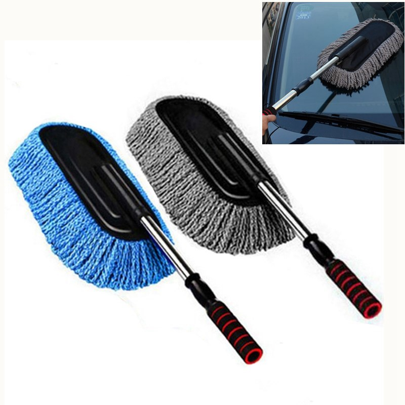 Microfiber Car Cleaning Brush Auto Window Duster Retractable Stainless Steel Long Handle Car Wash Drag Wax Shan Washer-in Sponges, Cloths & Brushes from Automobiles & Motorcycles