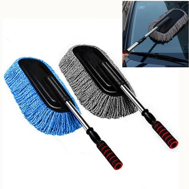 Microfiber Car Cleaning Brush Auto Window Duster Retractable Stainless Steel Long Handle Car Wash Drag Wax Shan Washer