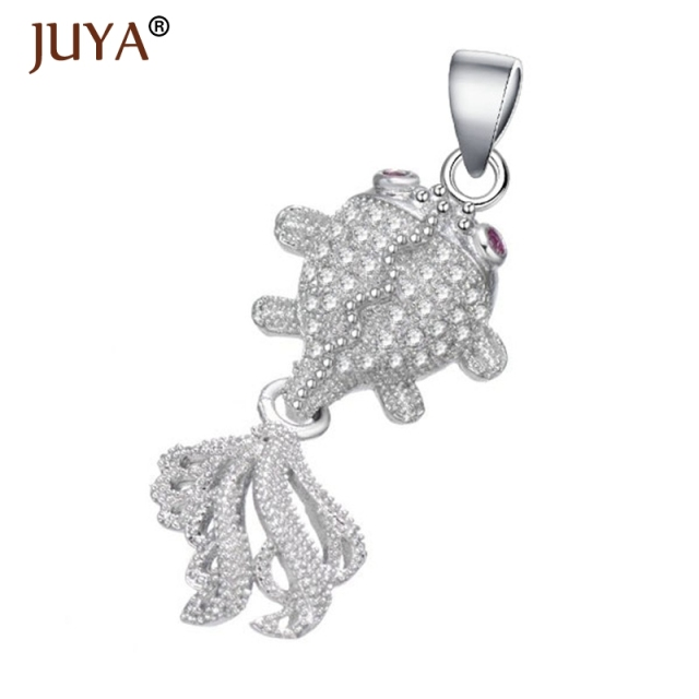 Jewelry making supplies fashion copper zircon rhinestone goldfish jewelry making supplies fashion copper zircon rhinestone goldfish slide charms pendant for making necklace accessories findings aloadofball