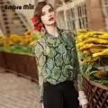 Haut de gamme femmes vintage royal imprimé floral soie blouse chemise européenne piste à manches longues élégante dame OL décontracté S 3XL