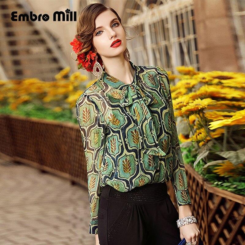 Haut de gamme femmes vintage royal imprimé floral soie blouse chemise européenne piste à manches longues élégante dame OL décontracté S-3XL