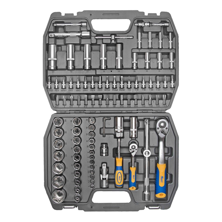 Set hand tool KRAFT CT 700306 (94 item, size range 10-32mm, end head, bits, keys, case) цена в Москве и Питере