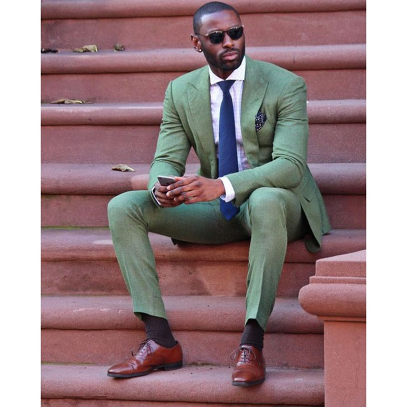 2017 Cool Fashion Army Green Men Suit Attractive Party Prom Tuxedo Mens Casual Style Daily Work Wear Suits (Jacket+Pants+Tie)