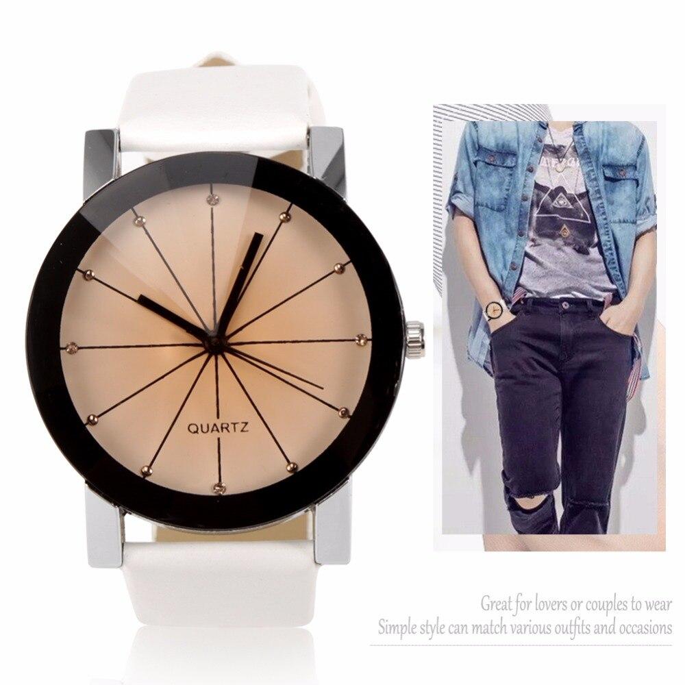 Lover's Watch kol saat Delicate PU Band Quartz Wristwatch Couple Wrist Watches Women Men Casual Dress Watch Montre Femme Relogio