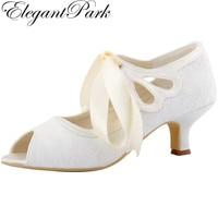 Free Shipping Elegantpark 2015 New HP1522 White Ivory Peep Toe Women S Ribbon Tie Mid Heel