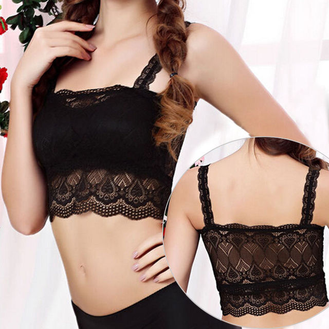 ef4aa891e4480 Women Girls Lace Tube Top Soft Bra Sexy Crop Top Bra White Black Colors  Bandeau Boob
