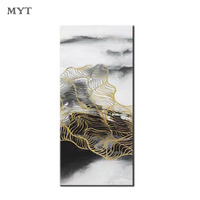 Modern 100% Hand painted Abstract Oil Painting on Canvas Dancing yellow Line Paintings Wall Art Pictures for Living Room
