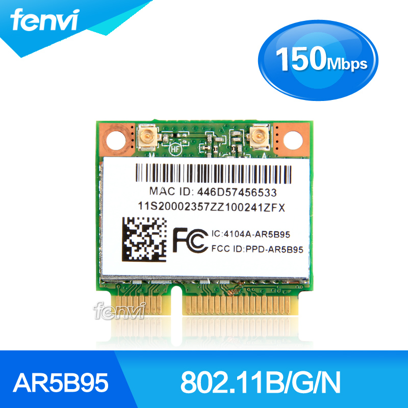Atheros 9285 AR5B95 AR9285 802.11B/G/N 150Mbps WiFi Half Mini PCI-E Wlan Wireless Card For IBM Z380 Z385 Z580 Z585 G555 G560