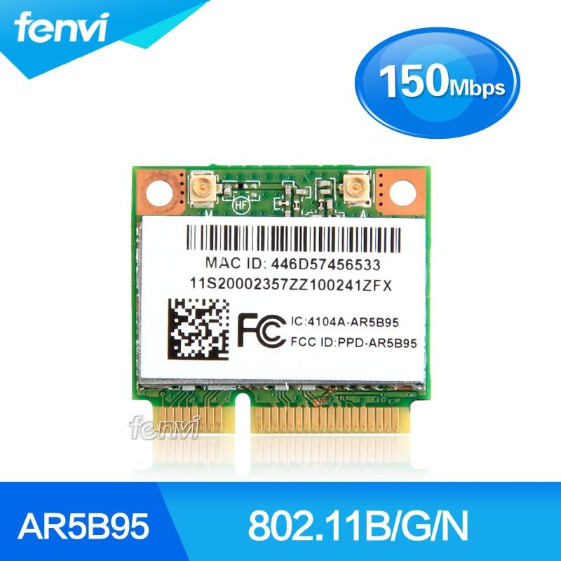 Atheros 9285 AR5B95 AR9285 802.11B/G/N 150Mbps WiFi Half Mini PCI-E Wlan Wireless Card For IBM Z380 Z385 Z580 Z585 G555 G560