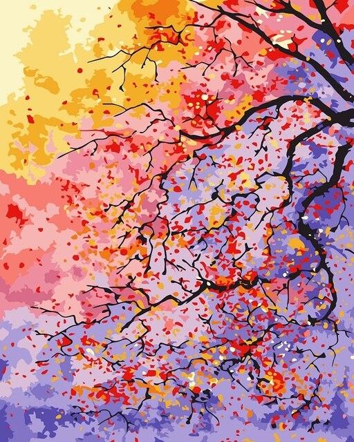 Zdjęcia Numerami Kwiaty Piękne Drzewa Krajobraz Obraz Olejny