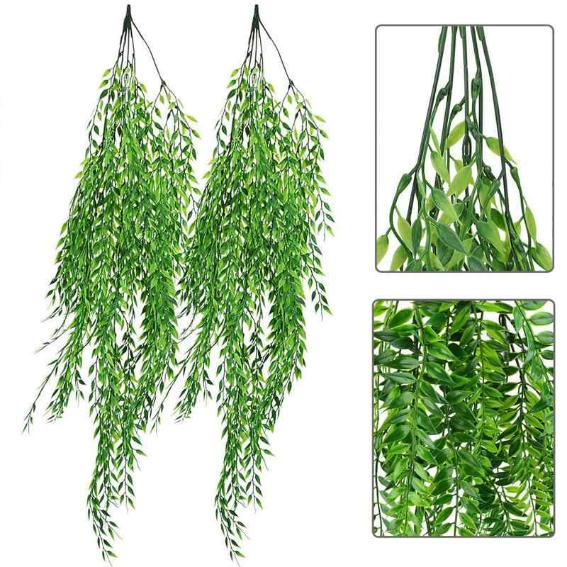 5 Forks Green Hanging Plant Artificial Plant Willow Fake Leaves Wall Home Garden Balcony Flower Basket Decoration Dropshipping