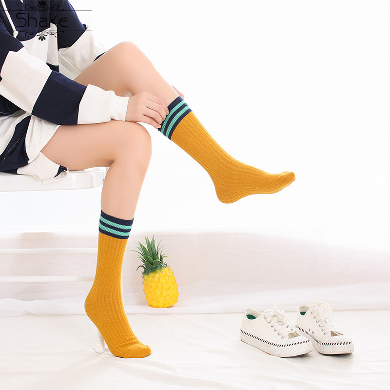 Shake Harajuku Cute Japanese High School Girls Cotton Long Socks Loose Striped Multi Colors Women Crew Socks For Autumn Winter