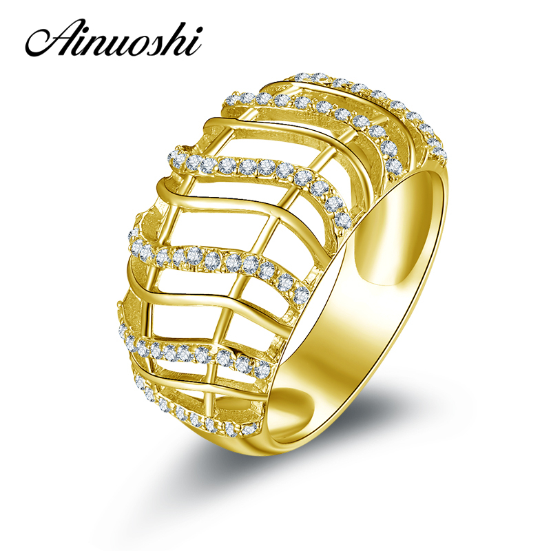 AINUOSHI 10K Solid Yellow Gold Women Wedding Rings Sona Simulated Diamond Jewelry Anillos Mujer New Design Engagement Band Ring ainuoshi 10k solid yellow gold wedding ring sona simulated diamond jewelry lady anillos new flower shape women engagement rings