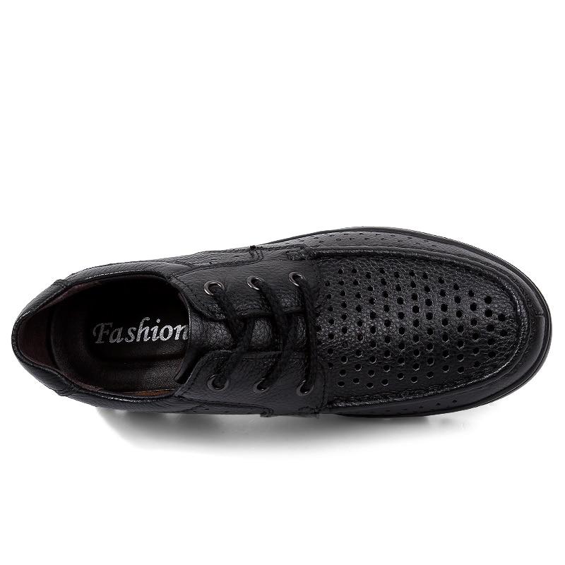 Mode 2018 Taille Noir Casual Mâle En Appartements Mocassins Chaussures Grande Véritable Creux Hommes Lacent Cuir uKcTl15F3J