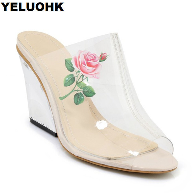 f9d15ddc0a2 US $39.09 15% OFF|Fashion Flower Transparent Shoes Women Sandals Sexy Women  Shoes High Heel Summer Pumps Casual Beach Shoes Woman-in High Heels from ...