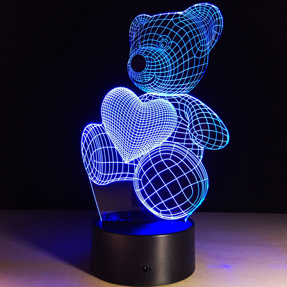 3D illusion Bear Led Night Light 7 Colors USB Night lamp Romantic acrylic Panel 3D illusion Bears Night-light Best Gift Lights free shipping 1piece new arrive marvel anti hero deadpool figure light handmade 3d bulbing illusion lamp led mood light for kid
