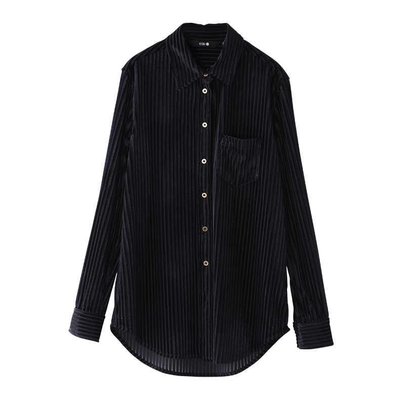 Toyouth 2019 sonbahar kadife gömlek düz uzun kollu bayan çizgili üstleri ve bluzlar tek göğüslü tüm maç siyah beyaz Blusas