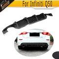 Q50 Carbon Fiber Add on Car Rear Bumper Diffuser lip Spoiler For Infiniti Q50 Black PU 2013 UP