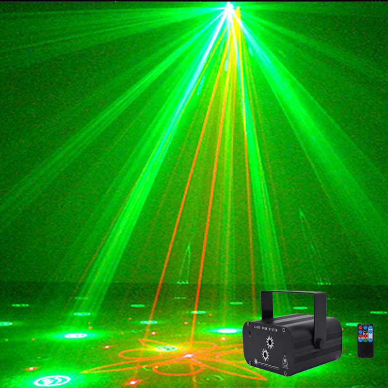 2018 New Wireless Remote Disco Laser Light Aluminum Rg Porjector LED Pattern Effect Car New Year Party Laser