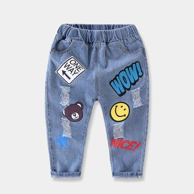 2-8y Heißer Baby Jungen Jeans Cartoon Casual Voller Länge Lange Hosen 2018 Frühling & Sommer Blau Kinder Denim Hosen Für Mädchen Weniger Teuer