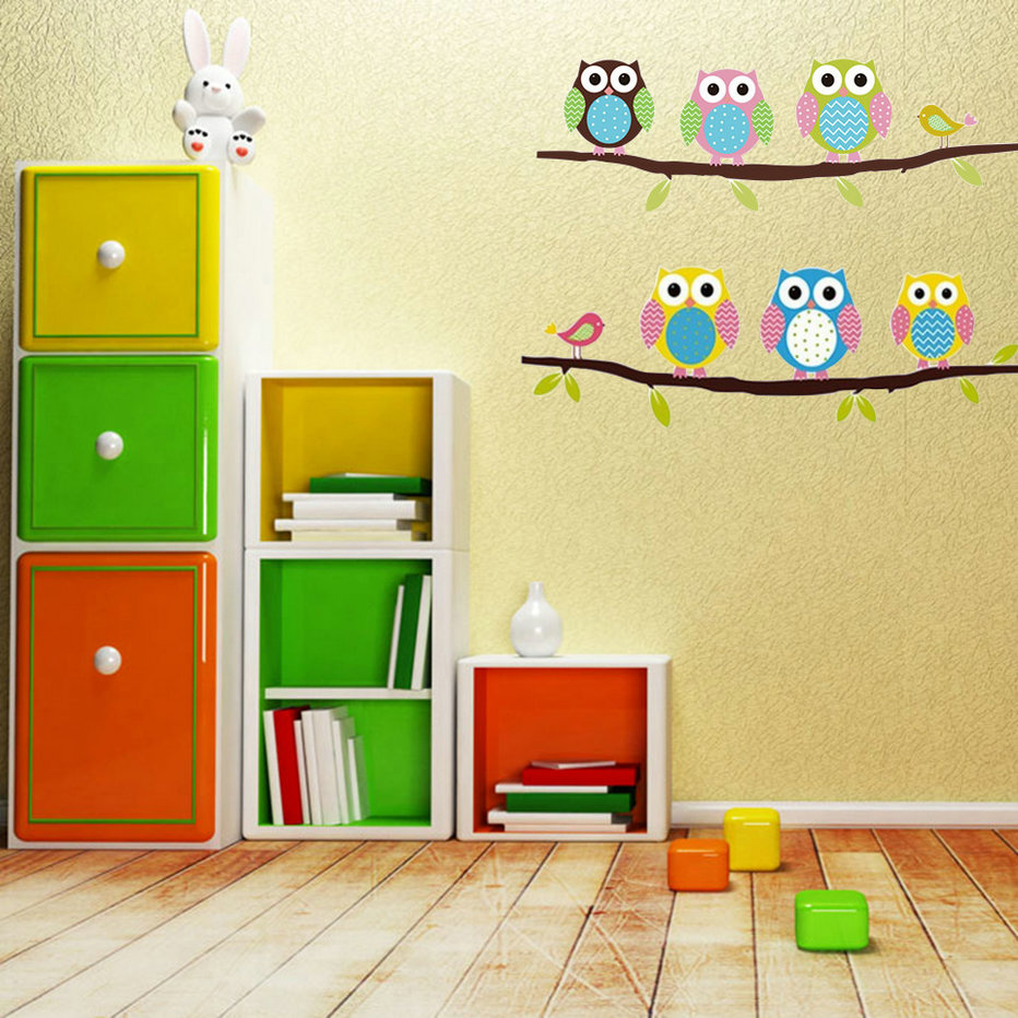 Owl Wall Stickers For Kids Rom DIY Vinyl Removable Wall Sticker Baby Boy Girl Room Decor Nursery Animal Cartoon Art Decals