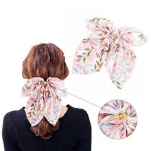 Korean Sweet Ponytail Decorative Hair Stick Pin Large Chiffon Bowknot Gradient Floral Hairpin Women Styling Accessory Clip