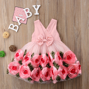 Image 2 - Girls Party Dresses V Neck with Bow kids dresses for girls Rose Decoration Edge Sleeveless Dress Children Wedding Dress