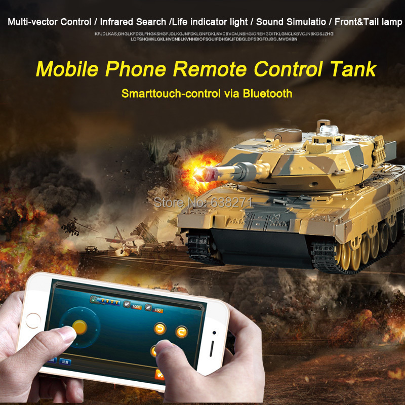 2016 Newest Remote Control Toys Battle RC Tank Control via Mobile Phone Bluetooth Super Power RC Toy