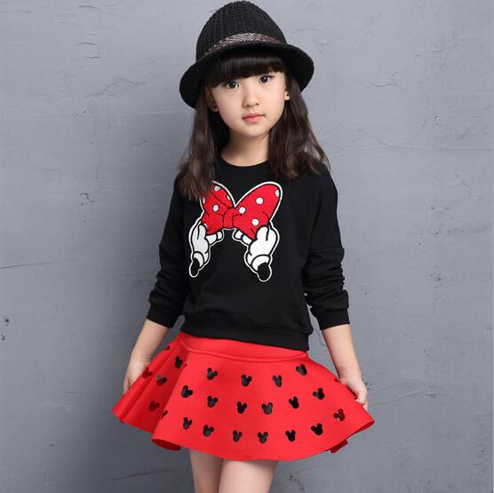 Cute Toddler Girl Clothing Sets Kids 2017 Spring Children Minnie Cartoon Tshirt+ Skirt 2pcs set Tracksuits Hoodies Children clot fashion brand autumn children girl clothes toddler girl clothing sets cute cat long sleeve tshirt and overalls kid girl clothes