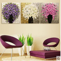 15 Kinds Three Picture Combination Painting By Numbers Vintage Home Decor Wall Art Flower Pictures Oil