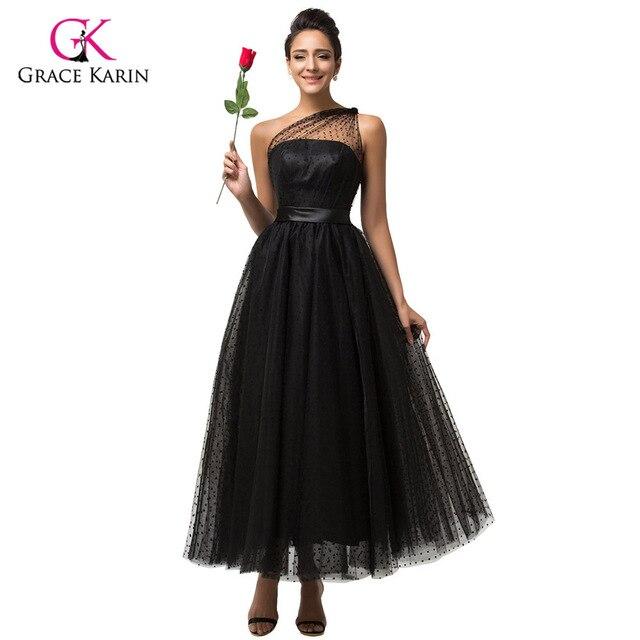 a905d79b8 Graça Karin Um Ombro Sexy Tulle Long black prom 2018 Mulheres Do Partido  Baratos Vestidos vestidos