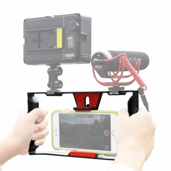 Ulanzi Handheld Smartphone Video Rig With 2 Hot Shoe Mounts Vlogging Rig Stabilizer for iPhone Instagram Video Microphone LED