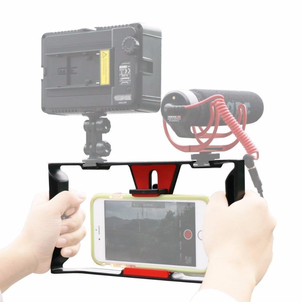 Ulanzi Handheld Smartphone Video Rig Mit 2 Heißer Schuh Halterungen Vlogging Rig Stabilisator für iPhone Instagram Video Mikrofon LED