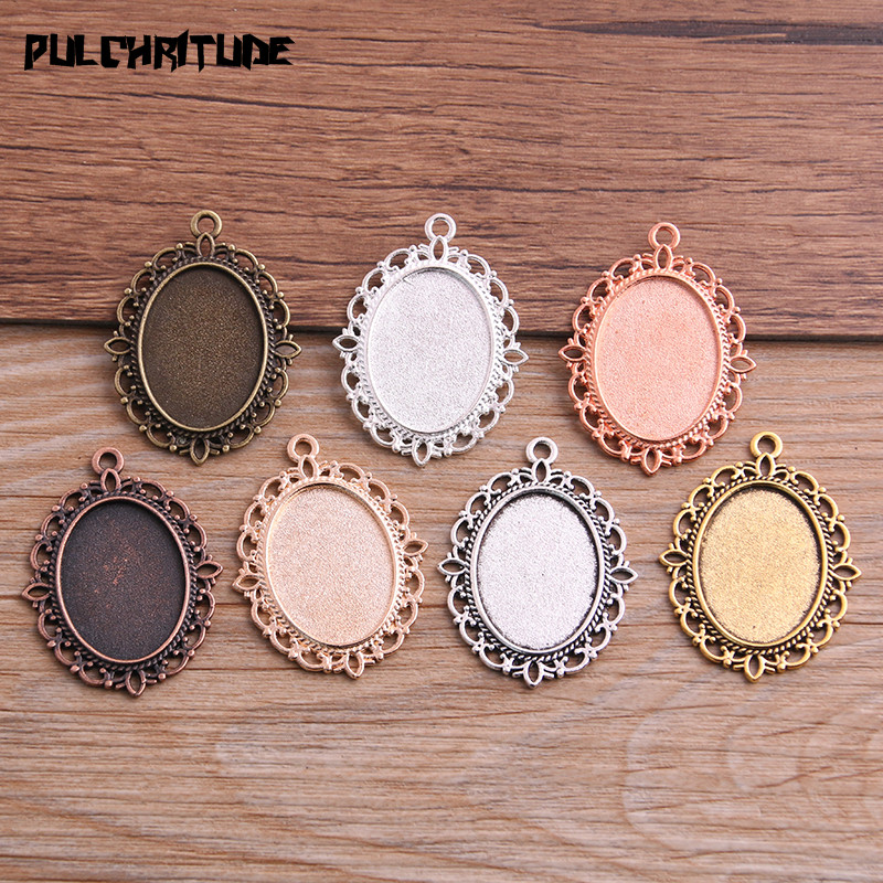 PULCHRITUDE 6pcs 18*25mm Inner Size 7 Color Classical Style Oval Cabochon Base Setting Charms Pendant P6596