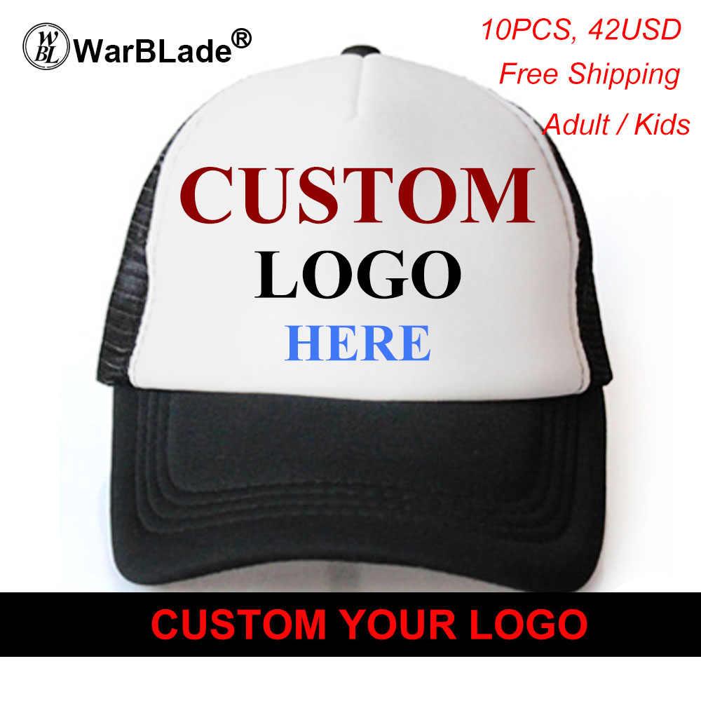 1cdda14eede821 WarBLade Custom Trucker Hat Flat Bill Visor Free Logo Men Women Summer Snapback  Caps Sports Team