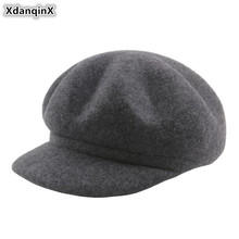 XdanqinX Womens Autumn Hat 100% Wool Newsboy Caps New Style Warm Thick Beret For Women Elegant Solid Simple Female Winter Hats