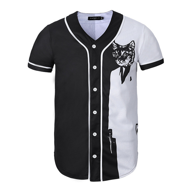7a3c9d041 2019 Summer Fashion Men T Shirts Baseball Jersey Single-breasted Loose Fit  Streetwear Tshirt Style