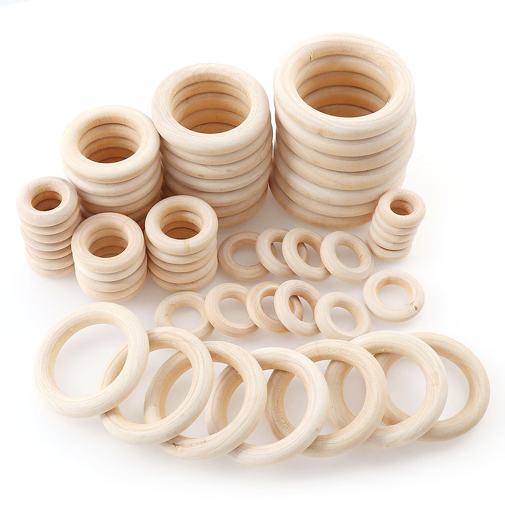 Natural Color DIY 2-6cm Wooden Beads Pendant Connectors Circles Rings Beads Unfinished Natural Wood Wall Hanging Ornament