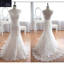 BRITNRY V-neck Court Train Wedding Dress 2018 Bride Dress