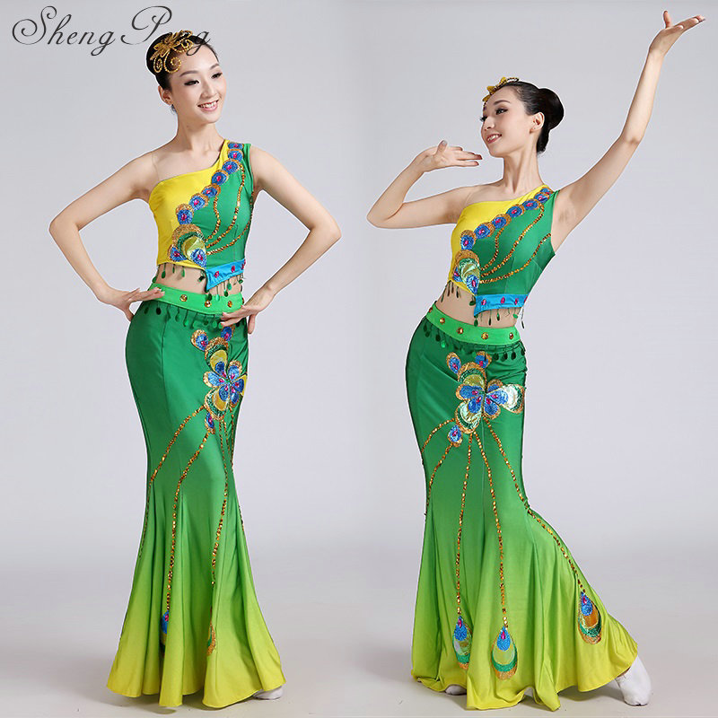 Traditional chinese folk dance costume chinese ancient costume national costume womens clothing for performance dai dance
