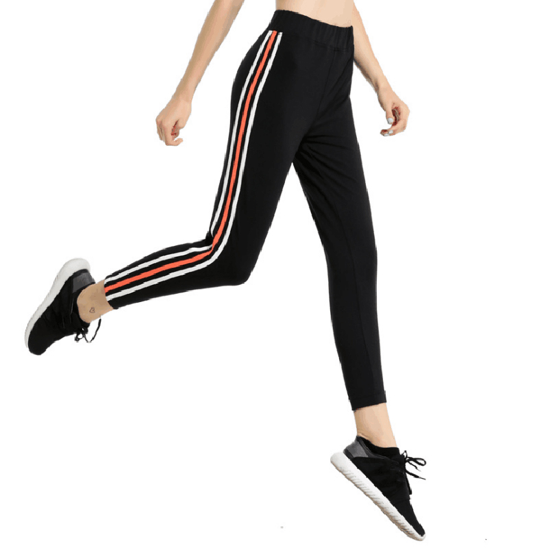 Women Running Pants High Elastic Tights Stripe Sports Legging