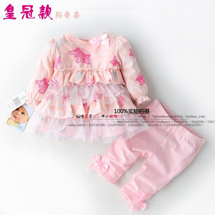 Neue 2019 Frühling sommer kinder kleidung sets mädchen rosa Lange ärmeln T-shirt Top + baby leggings Kind Anzug prinzessin kuchen röcke
