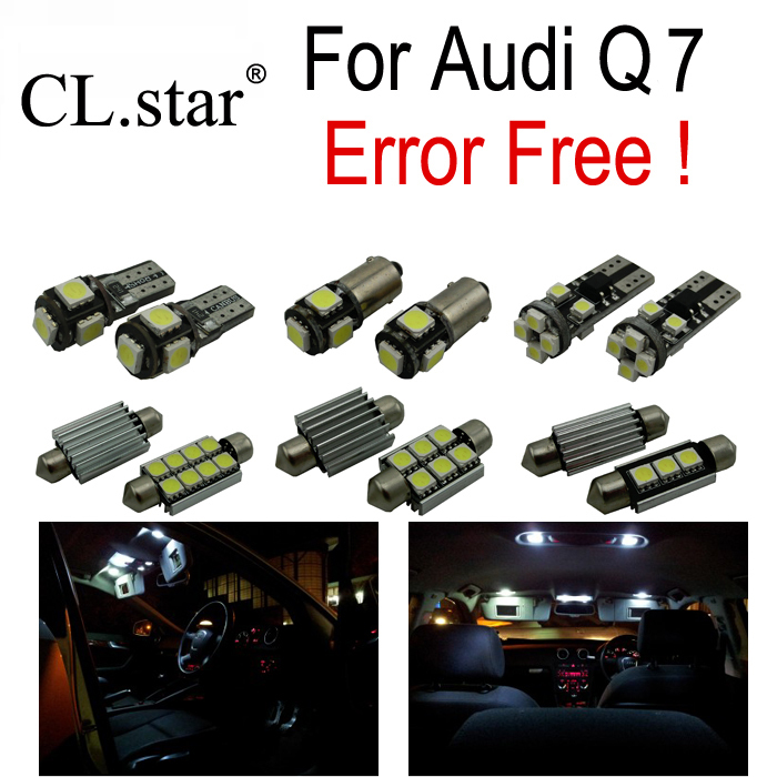 19pc X canbus  LED lamp Interior Lights Kit + Vanity mirror + Front dome + Rear map bulb for Audi Q7 4L Sport (2005-2014) new arrival 20pcs 29mm 3smd led lamp bulb white sun visor vanity mirror light for car interior lights