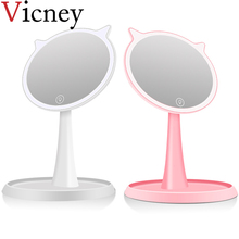 2019 New arrival Creative Cute smart LED Makeup Mirror Desktop With Light Birthday Gift Beauty