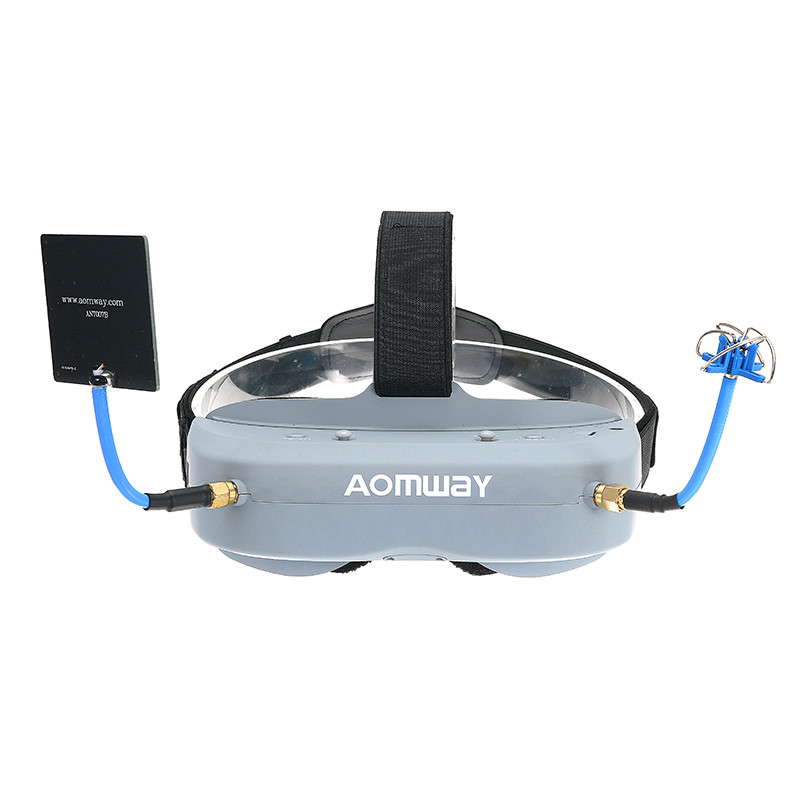 Comandante Óculos V1 2D 3D 40CH Aomway 5.8G FPV Vídeo Apoio Fone de Ouvido/Com DVR Headtracker