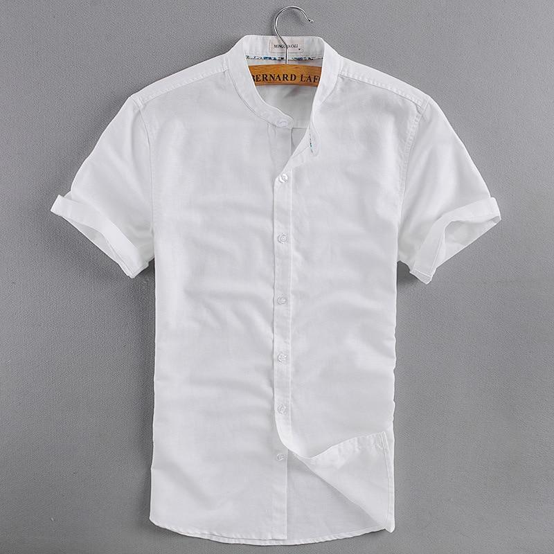 Hombres de cuello mao manga corta ropa de verano camisetas