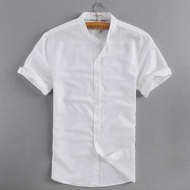 Hombres de cuello mao manga corta ropa de verano camisetas azul blanco de  lino camisas de 150c94eea82