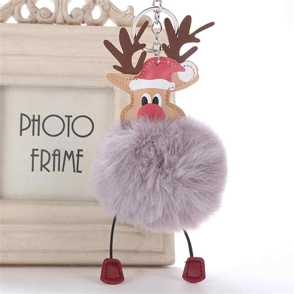 Nova Adorável Cervos Do Natal Pingente Chaveiro Pompom Fofo Pele De Pelúcia Boneca Chaveiro Bolsa Chaveiro Moda Jóias Presente Do Xmas