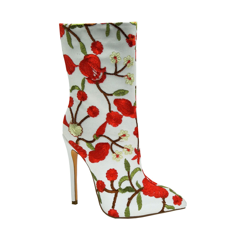 De Para Flores Largas Aire Estampado Fiesta Botas Alto Moda Tacón Boda Tamaño Malla Mujer 2019 Zapatos Blanco Más Sdfqf