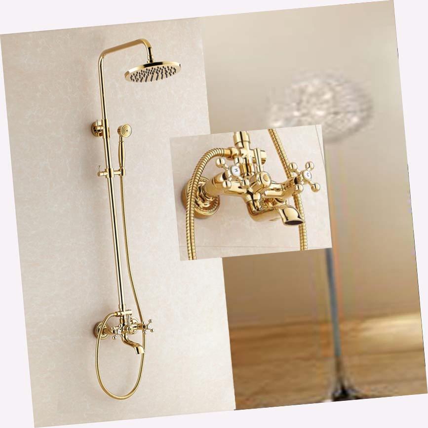 Dual Handle Tub Spout Mixer Tap Golden Brass Rain Shower Head Hand Shower Faucet luxury modern 8 square rain shower head faucet wall mounted shower column single handle tub spout mixer tap shower hand
